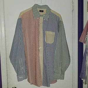 L/S Button down mixed color striped shirt